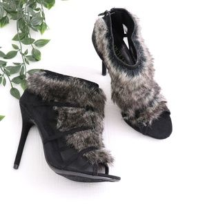 Shoes - Faux Fur Open Toed Booties 7.5